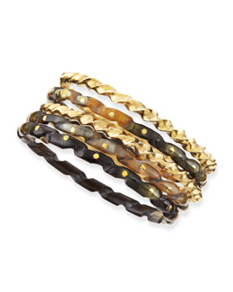 Ashley Pittman Kuchonga Dark Horn Bangles, Set of 5
