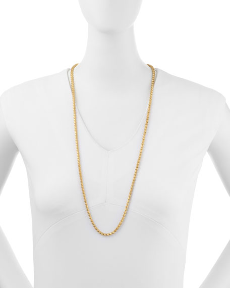 Matte Yellow Gold Pyramid Link Necklace