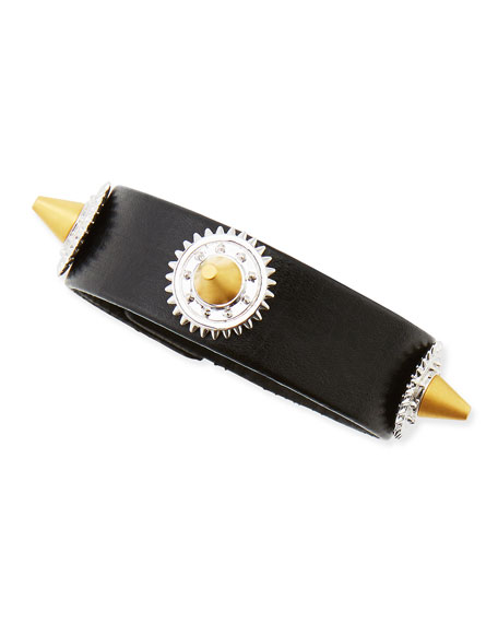 Casing-Studded Leather Bracelet, Black