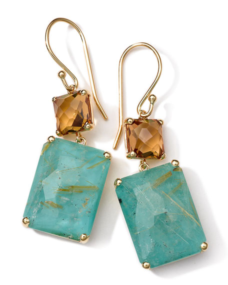 18K Gold Rock Candy Gelato Rectangle Snowman Earrings in Cognac Citrine/Turquoise