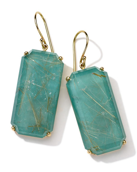 18k Gold Rock Candy Gelato Large Emerald-Cut Earrings, Rutilated Quartz/Turquoise