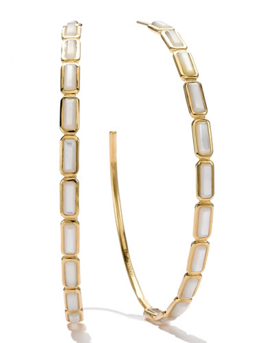 Ippolita 18k Gold Rock Candy Gelato Rectangular Hoop Earrings, Mother-of-Pearl