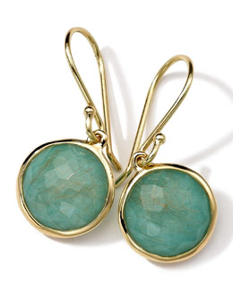 Ippolita 18k Gold Rock Candy Mini Round Lollipop Earrings, Quartz/Turquoise