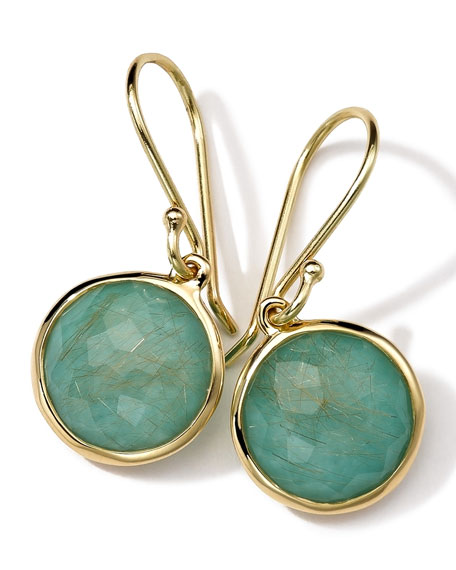 18k Gold Rock Candy Mini Round Lollipop Earrings, Quartz/Turquoise