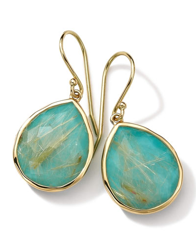 18k Gold Rock Candy Teardrop Lollipop Earrings, Quartz/Turquoise