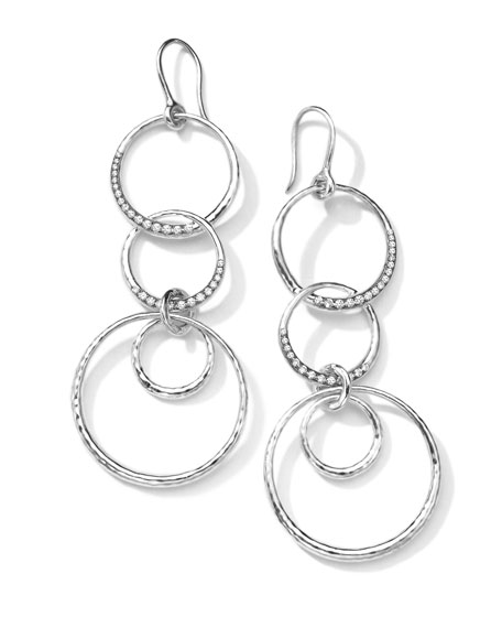 Sterling Silver Multi-Circle Drop Earrings with Diamonds (0.43ctw)