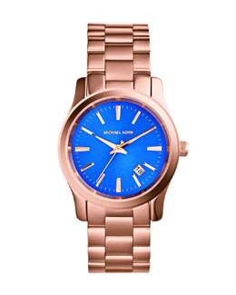 Michael Kors  Mid-Size Rose Golden Stainless Steel Runway Three-Hand Watch