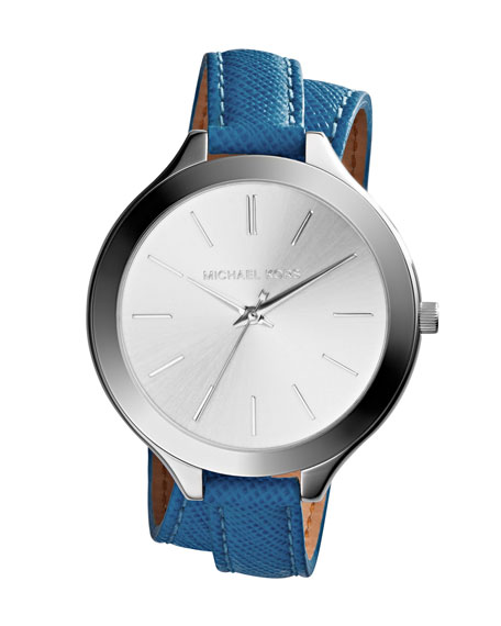 Slim Silver Color Double-Wrap Stainless Steel/Leather Runway Watch