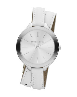 Michael Kors  Slim Silver Color Double-Wrap Stainless Steel/Leather Runway Watch