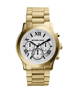 Michael Kors  Mid-Size Cooper Golden Stainless Steel Runway Chronograph Watch