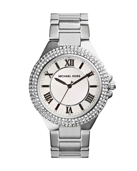 Silver Color Stainless Steel Camille Three-Hand Glitz Watch