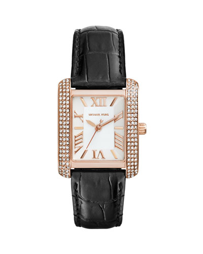 Michael Kors  Mini Rose Golden/Black Emery Glitz Watch