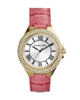 Michael Kors  Golden/Pink Slim Camille Three-Hand Glitz Watch