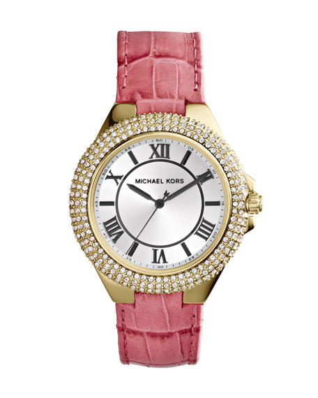 Golden/Pink Slim Camille Three-Hand Glitz Watch