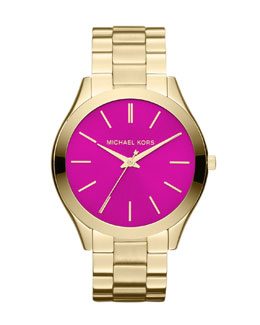 Michael Kors  Mid-Size Golden/Pink Stainless Steel Runway Three-Hand Watch
