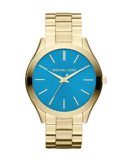 MICHAEL Michael Kors  Mid-Size Golden/Blue Stainless Steel Runway Three-Hand Watch