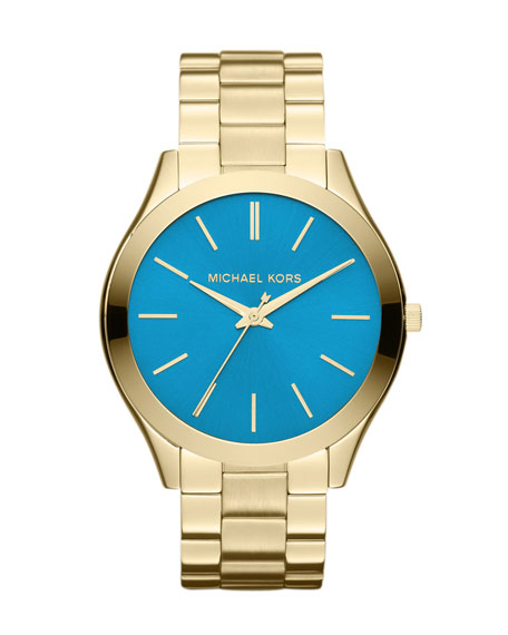 Mid-Size Golden/Blue Stainless Steel Runway Three-Hand Watch