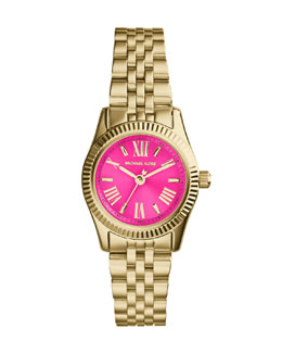 Michael Kors  Petite Golden/Pink Stainless Steel Lexington Three-Hand Watch