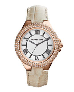 Michael Kors  Mini Rose Golden/White Camille Three-Hand Glitz Watch