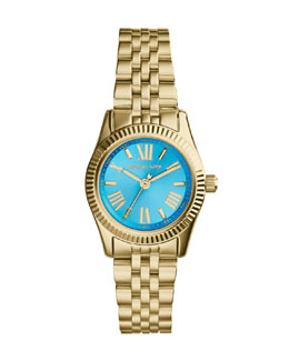 Michael Kors  Petite Golden/Blue Stainless Steel Lexington Three-Hand Watch