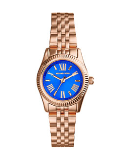Michael Kors  Petite Rose Golden/Cobalt Stainless Steel Lexington Three-Hand Watch