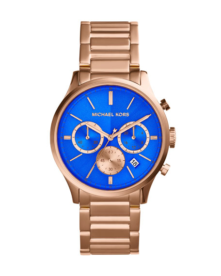 Mid-Size Rose Golden/Cobalt Stainless Steel Bailey Chronograph Watch