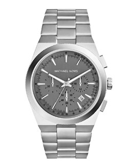 MICHAEL Michael Kors  Over-Size Silver Color Stainless Steel Channing Chronograph Watch