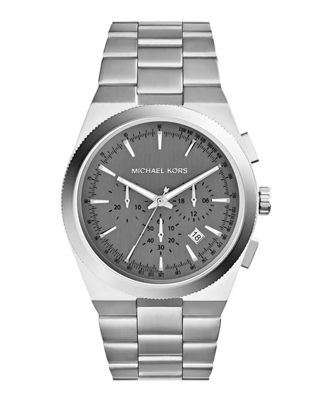 Over-Size Silver Color Stainless Steel Channing Chronograph Watch