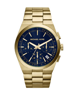 MICHAEL Michael Kors   Over-Size Golden/Cobalt Stainless Steel Channing Chronograph Watch