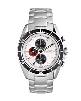 MICHAEL Michael Kors  Oversize Silver Color Stainless Steel Lansing Chronograph Watch