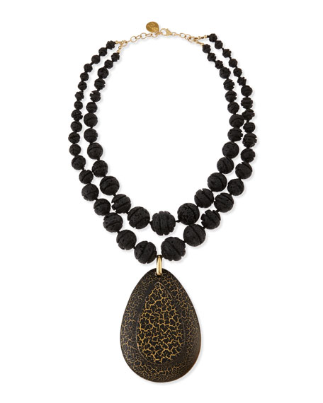 Devon Leigh Double-Strand Carved Lava Bead & Wood