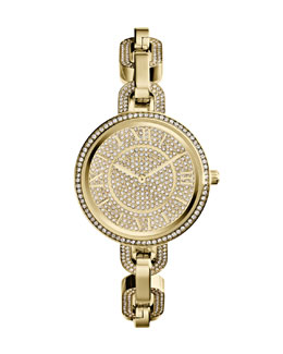 Michael Kors  Mini Golden Stainless Steel Delaney Three-Hand Glitz Watch