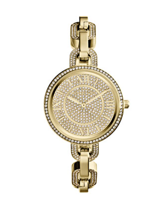 Mini Golden Stainless Steel Delaney Three-Hand Glitz Watch