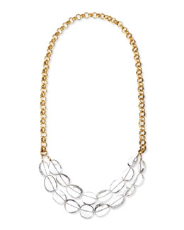 Devon Leigh Long Clear Quartz & 24k Gold Plate Necklace, 38""