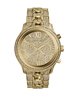Michael Kors  Oversized Golden Stainless Steel Lindley Three-Hand Glitz Watch