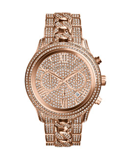 Michael Kors  Oversized Rose Golden Stainless Steel Lindley Three-Hand Glitz Watch
