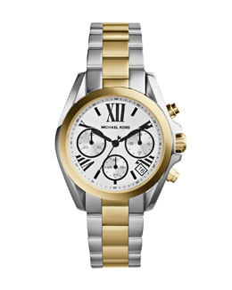 Michael Kors  Mini Two-Tone Stainless Steel Bradshaw Chronograph Watch