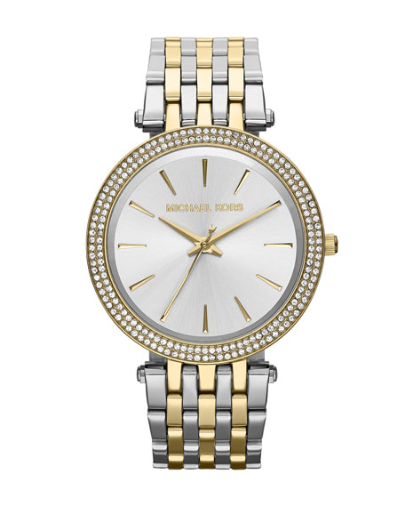 Michael Kors Mid-Size Two-Tone Stainless Steel Darcy Three-Hand Glitz Watch