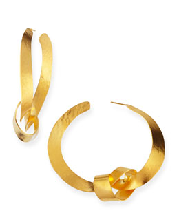 Herve Van Der Straeten Ruban Ribbon Gold Knot Hoop Earrings