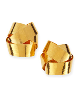 Herve Van Der Straeten Ruban Ribbon Gold Knot Clip-On Stud Earrings