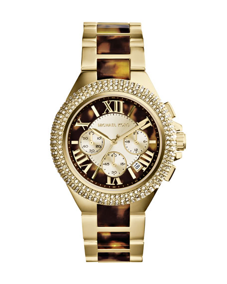Mid-Size Golden/Tortoise Stainless Steel Camille Chronograph Glitz Watch