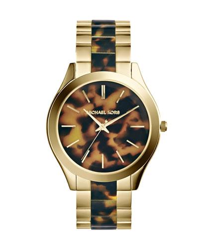 Michael Kors  Mid-Size Golden/Tortoise Stainless Steel Slim Runway Three-Hand Watch
