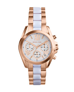 Michael Kors  Mini Rose Golden/White Stainless Steel Bradshaw Chronograph Watch