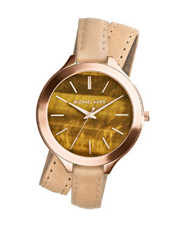 Michael Kors  Mid-Size Tan Leather Runway Three-Hand Watch