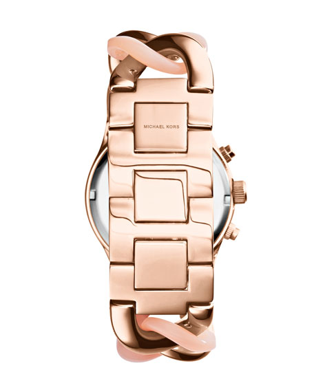 Mini Rose Golden Stainless Steel Runway Glitz Twist Watch