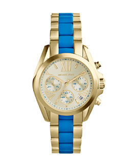 Michael Kors  Mini Rose Golden/Turquoise Stainless Steel Bradshaw Chronograph Watch