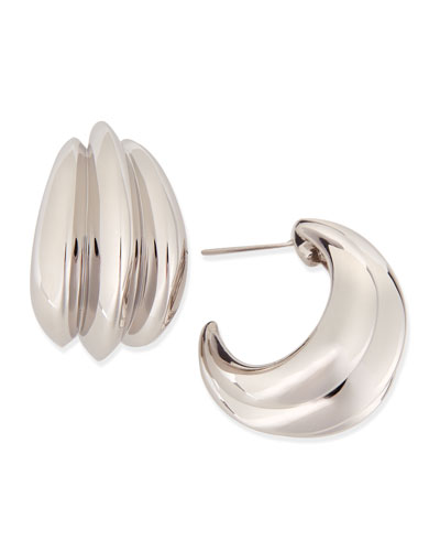 Fluted Sterling Silver Hoop Earrings