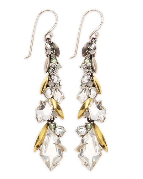 Quartz, Sapphire & Diamond Cluster Long Drop Earrings