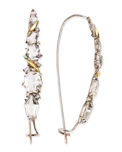 Alexis Bittar Fine Quartz, Sapphire & Diamond Cluster Kidney Wire Earrings