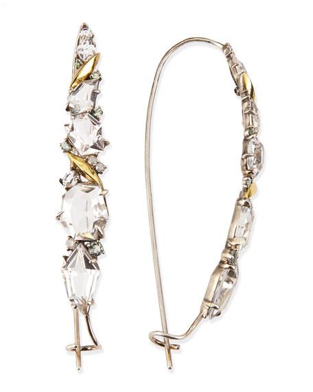 Quartz, Sapphire & Diamond Cluster Kidney Wire Earrings